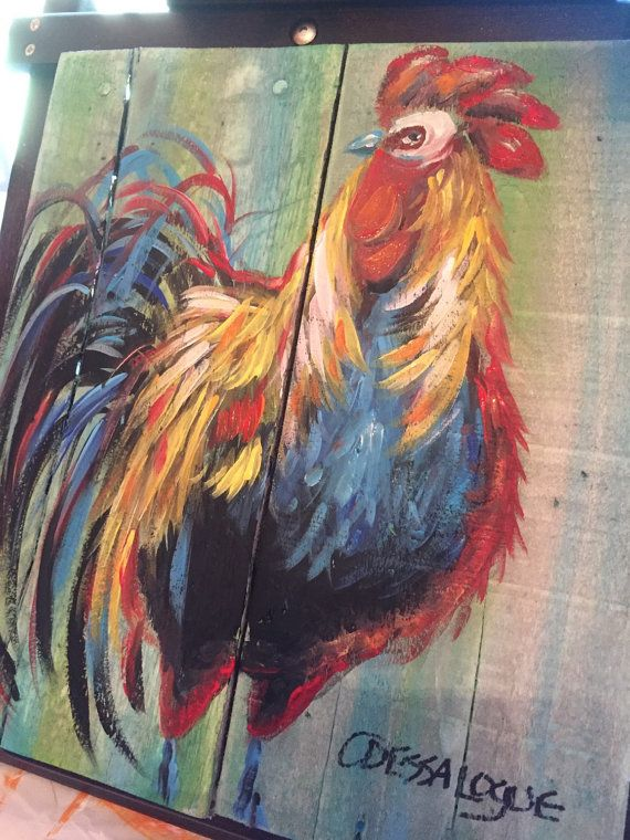 Rooster on reclaimed pallet wood 16x20