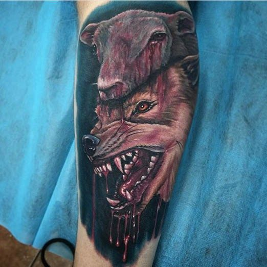 Horror Tattoo by Mike DeVries. #inked #inkedmag #tattoo #wolf #sheep #blood #horror