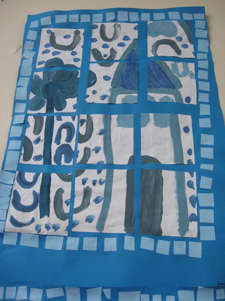 A la façon des azulejos, les enfants réalisent dans des nuances de bleu, une peinture qui est ensuite découpée en une douzaine de carrés. Le puzzle reconstitué et collé sur une feuille de couleur bleue est ensuite entouré d'une mosaïque de petits carrés bleus.