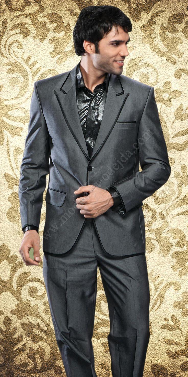 Стальной классический мужской костюм-двойка рубашка галстук