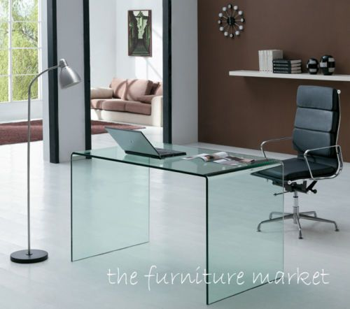Geo-Glass Modern Designer Small Clear Bent Glass Desk - Office Table  SMALLDESKC | eBay 229 (Free delivery) Dimensions: Length: 110cm x Depth:  55cm