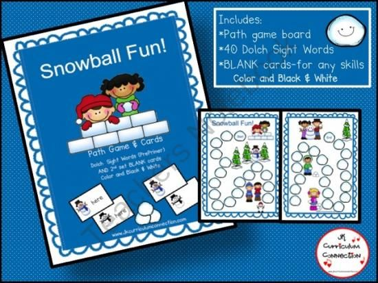 Snowball Fight Game FREEBIE!  from JKCurriculumConnection on TeachersNotebook.com -  (29 pages)  - Snowball Fight Game FREEBIE! This file folder path game targets 40 Dolch words OR use the Editable cards to add ANY content that needs practice. It will fit right in with any of your Winter /Snow-themed Centers!