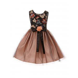 84a954edd Big Girls Blush Black Floral Trim Overlaid Tulle Junior Bridesmaid Dress  8-14