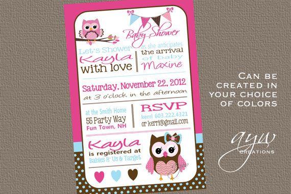 Owl Baby Shower Invitation Owl Bunting by AsYouWishCreations4u