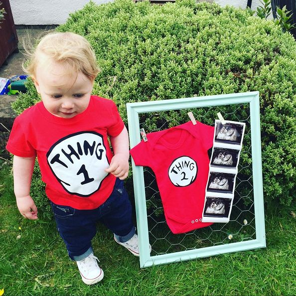 "It's always fun finding new and creative ways to announce your pregnancy to everyone! Here are some awesome ones I have found on Instagram! More to come as people write me back :) Write on a sign ""Expected to Hatch"" with the date, holding a real chick…so adorable! Credit to Kate Memmon Write ""Big Sister"" …"