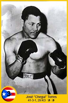 "José (""Chegüi"") Torres (May 3, 1936 – January 19, 2009), was a Puerto Rican professional boxer. As an amateur boxer, he won a silver medal in the junior middleweight at the 1956 Olympic Games in Melbourne. In 1965, he defeated Willie Pastrano to win the WBC and WBA light heavyweight championships. In 1997, he was inducted into the International Boxing Hall of Fame."