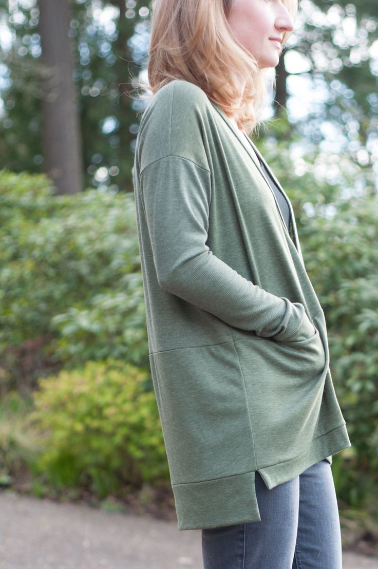 Grainline Studio Driftless Cardigan in Heathered Olive, Ribbed Knit — Baste + Gather