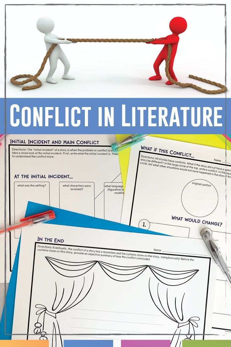 Conflict Graphic Organizers For Any Novel Or Short Story Conflict In Literature Middle School Language Arts Lessons Literature Lessons