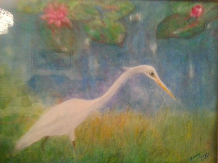 Great White Heron.  This picture has many different layers of small brushstrokes in the blue of the water that gives it a kind of glow.