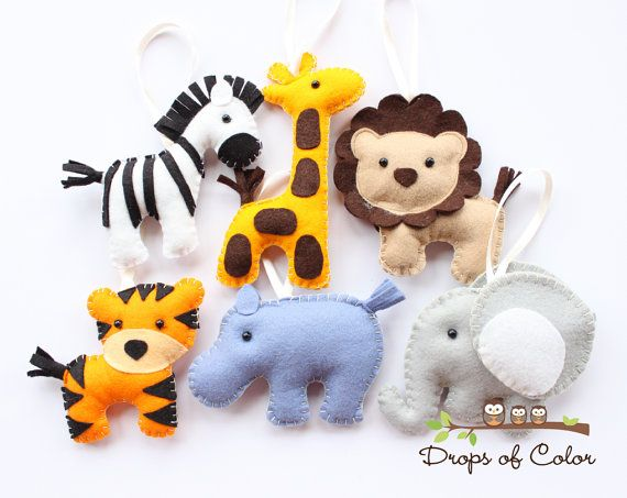 Six Felt Plush Toy Jungle Theme - Safari Ornaments - Lion, Zebra, Elephant, Tiger, Giraffe / Party or Baby Shower Favor - Nursery Decoration...