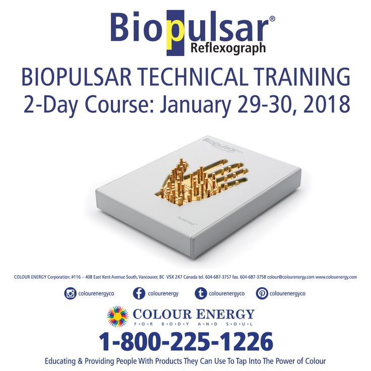 January 29-30, 2018 Biopulsar Reflexograph Technology & Biofeedback 2 Day Training Call 1-800-225-1226 x511 to register Available as an intensive 2 day class and/or through an 8 week correspondence course. #colourenergy #biopulsar