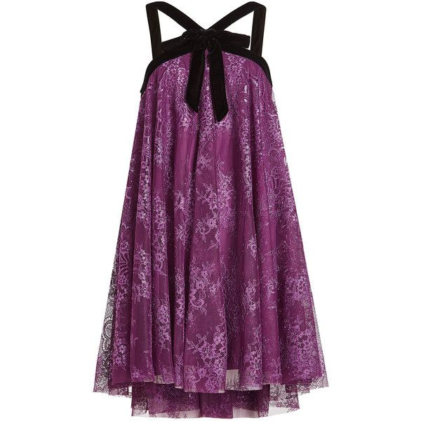 Philosophy di Lorenzo Serafini Lace Mini Dress ($1,109) ❤ liked on Polyvore featuring dresses, purple, purple lace dress, purple sparkly dress, sparkly dresses, short dresses and mini dress