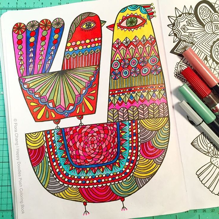A Finished Page From Happy Doodles Posh Coloring Book By Flora Chang