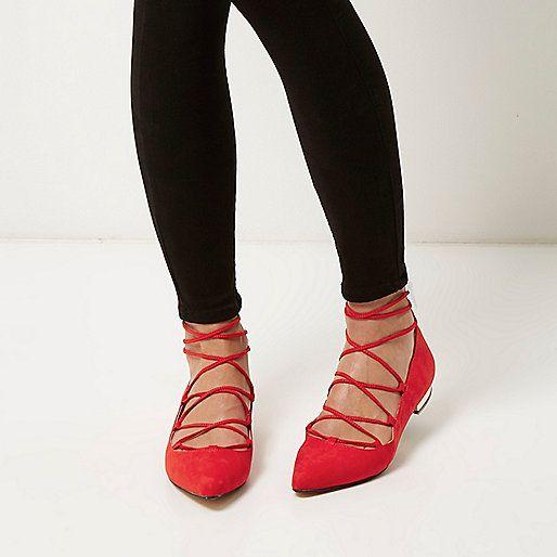 Rode puntige platte ballerina's met strikbandjes - schoenen / laarzen - sale - dames