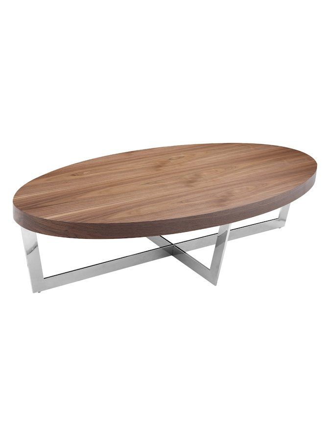Pangea Home Oyster Coffee Table Veneered Wooden High Polished Metal Frame Features Geometric Shaped Apartment Pinte