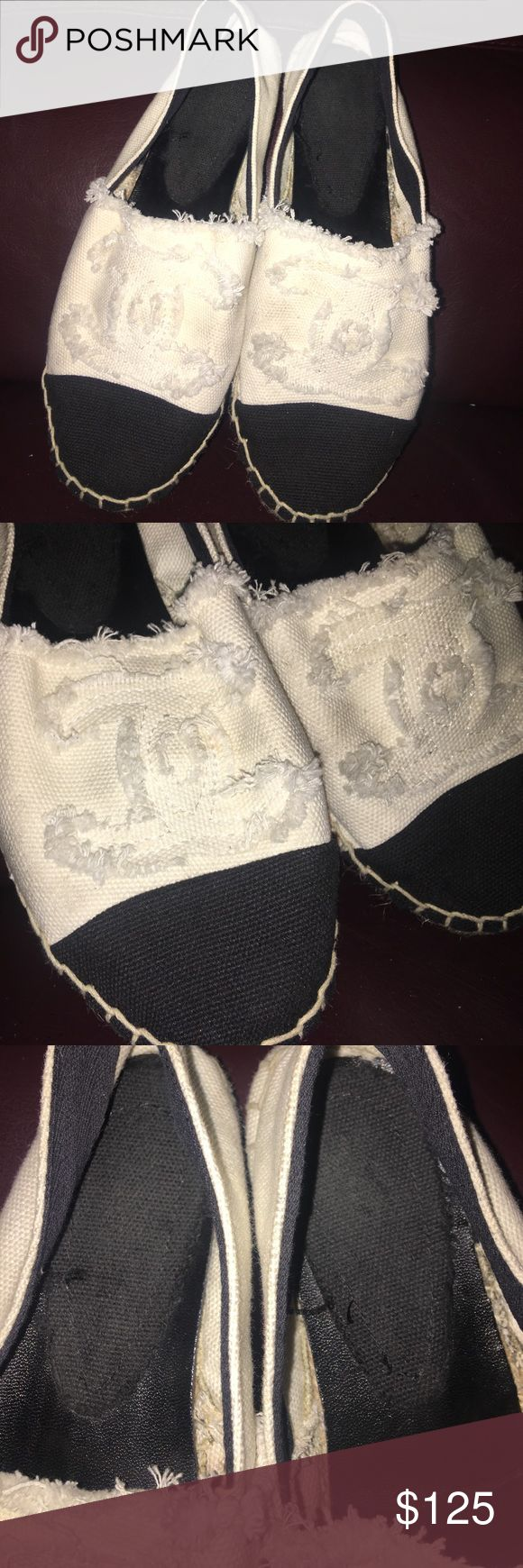 Chanel espadrilles Size 36. Fits true to size. Gently used. Comes with stuffing to maintain shape. Selling cause I am moving and need the space.  *Authenticity reflected in price.* Shoes
