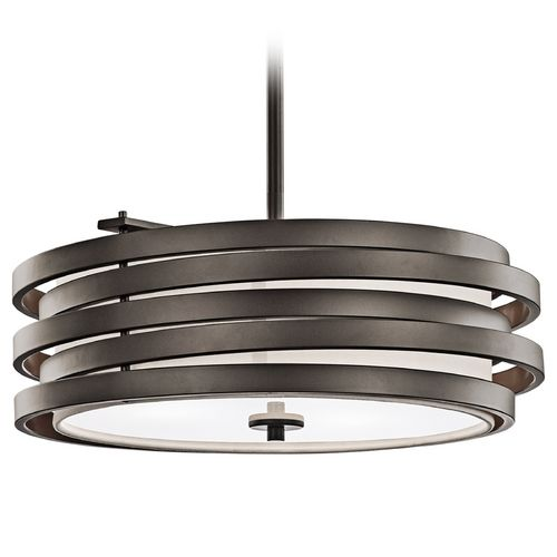 Kichler Modern Bronze Drum Pendant Light with White Glass | 43301OZ | Destination Lighting