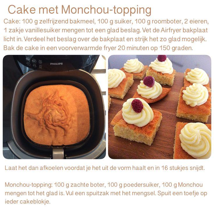 Cake met Monchou-topping uit de Airfryer . 20 minuten, 150 graden. AK