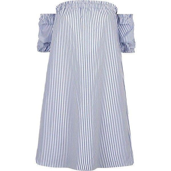 River Island Blue stripe print bardot swing dress ($76) ❤ liked on Polyvore featuring dresses, bardot / bandeau dresses, blue, women, tent dress, crepe dress, blue stripe dress, short-sleeve dresses and bandeau dress