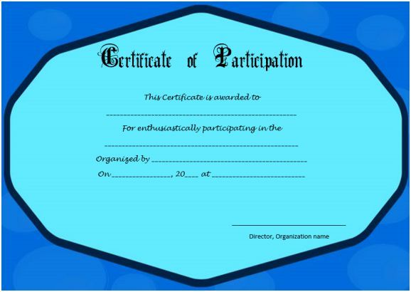 Thank you certificate for participation