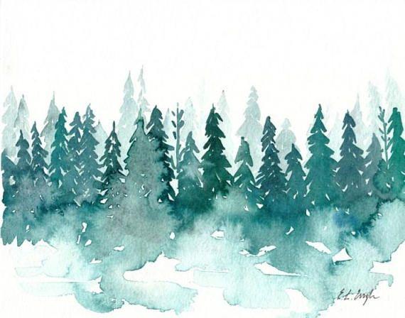 Watercolor Winter Forest Original Watercolor Painting Arbres En