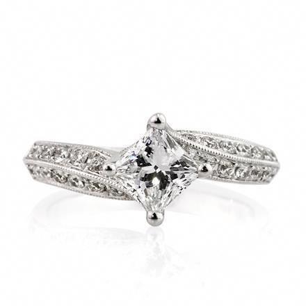 1.71ct Princess Cut Diamond Engagement Ring #princessweddingrings