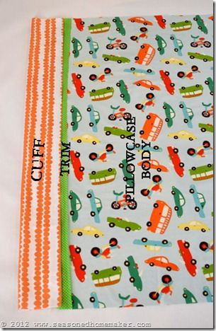 "Easy pillow case DIY uses the burrito method, no raw seam edges when done. I have made several of these now.  I changed the length measurements of the peices as follows:  case 29"", trim 3"" and cuff 10""."
