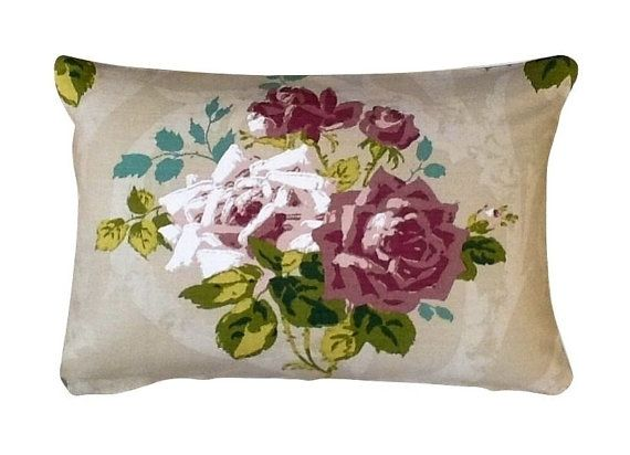 Front: Nina Campbell - Rosa Alba - pink and white roses on beige ground  Back: White Cotton    Size: 23 x 15 inches - 60 x 40 cm  Composition: Linen,