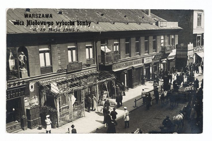 Warszawa, ulica Miodowa po wybuchu bomby d. 19 Maja 1905 r., źródło: Biblioteka Narodowa