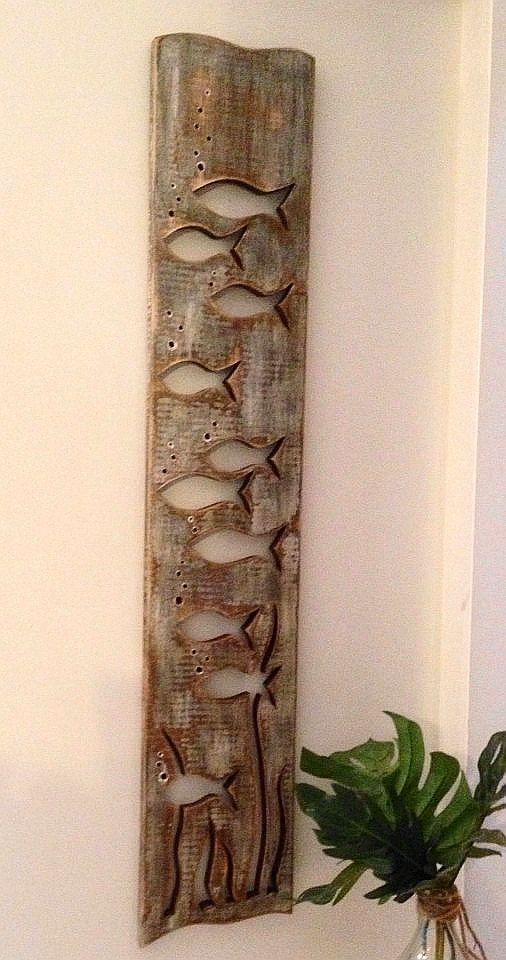 Wood School of Fish Art Panel Sign Wall Decor Vertical Driftwood or Sea Glass Colours Beach Lake House Cabin Cottage by CastawaysHall
