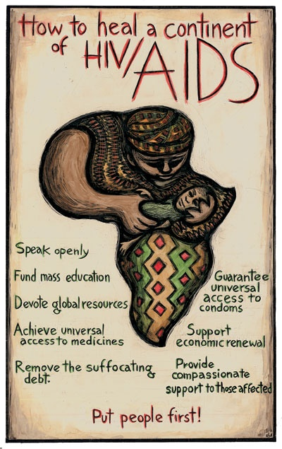 """""""How To Heal a Continent"""" - Poster by Ricardo Levins Morales. Click the image for more details."""
