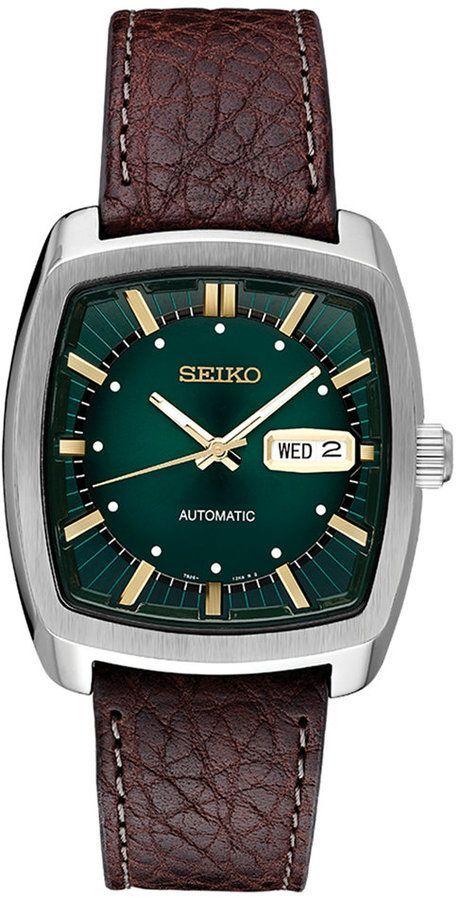 eba19deb67d Seiko Men s Automatic Recraft Brown Leather Strap Watch 40mm Relógios  Masculinos