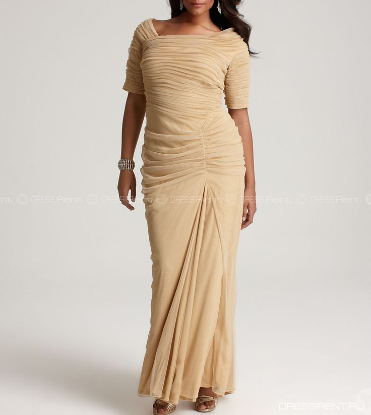 Платье - Tadashi Shoji  | Asymmetrical Ruched Mesh Gold Gown+