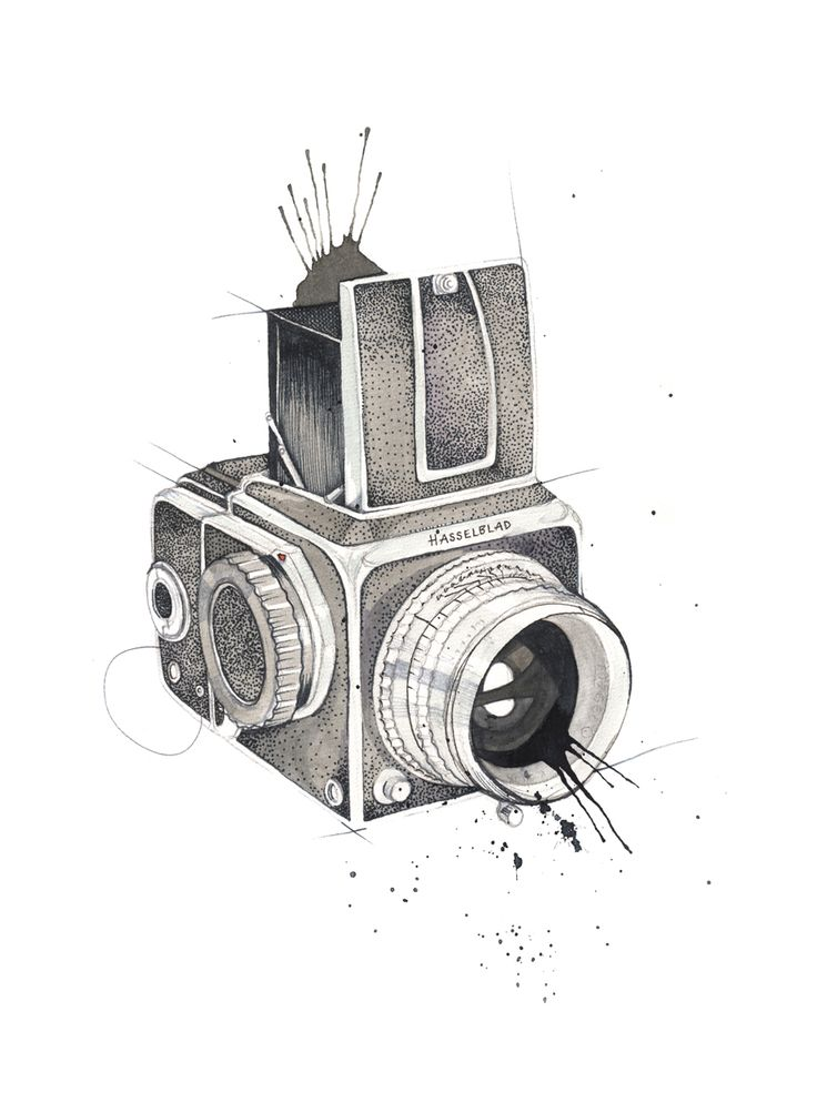 """Hasselblad"" (Vintage camera)  Copyright: Emmeselle.no  Illustration by Mona Stenseth Larsen"
