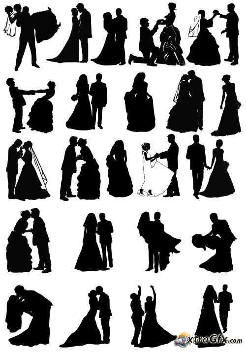 wedding silhouette | Wedding couples silhouettes (vector)