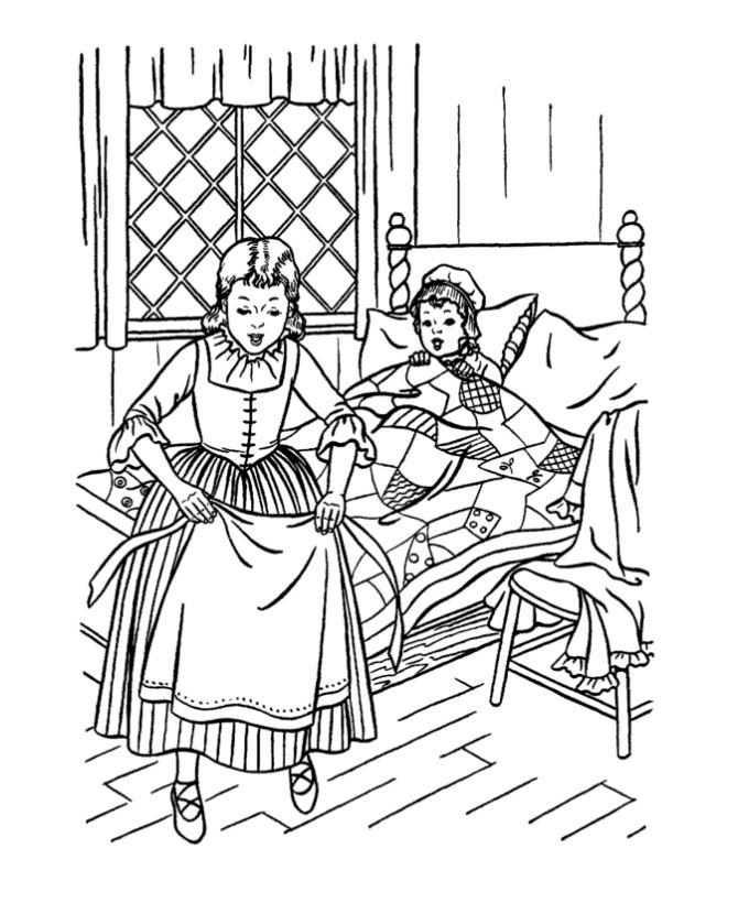 early american children coloring page - Amish Children Coloring Book Pages