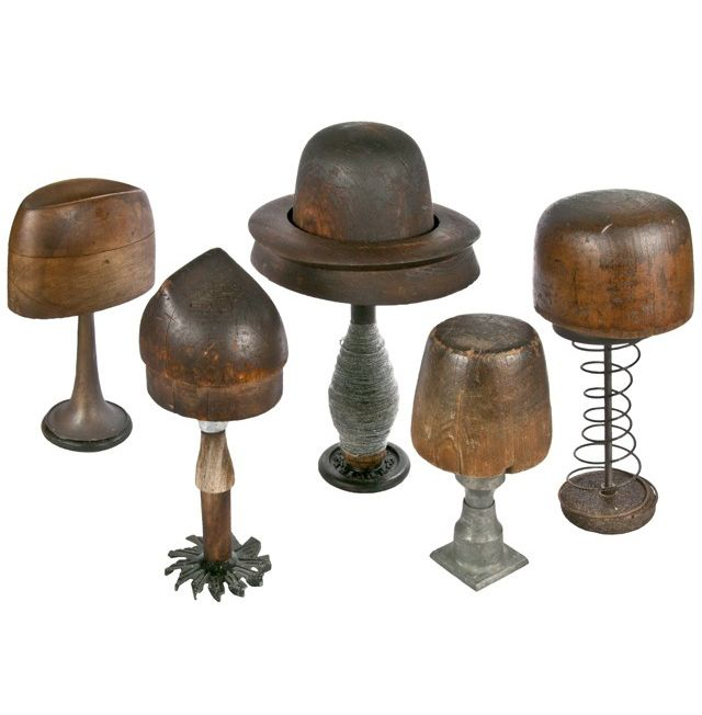 A Salvatecture Studio collection of five antique wood millinery hat blocks…