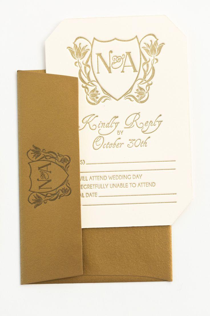 Yonder Design | Art Nouveau, Wedding Inspiration, Letterpress, Bronzing, Fall Wedding, Calistoga Ranch, California Wedding, Wedding Invitation, Reply Card, Monogram, Gold Design