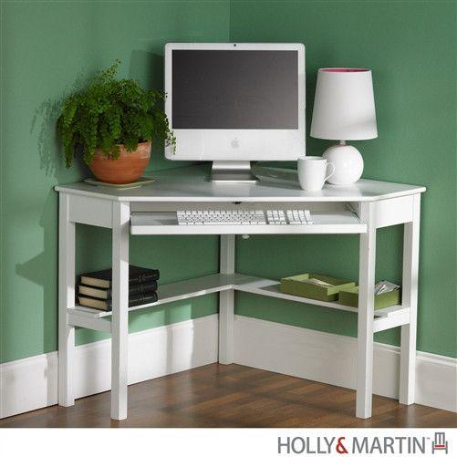 "48"" Modern White Corner Computer Desk with Keyboard Tray"