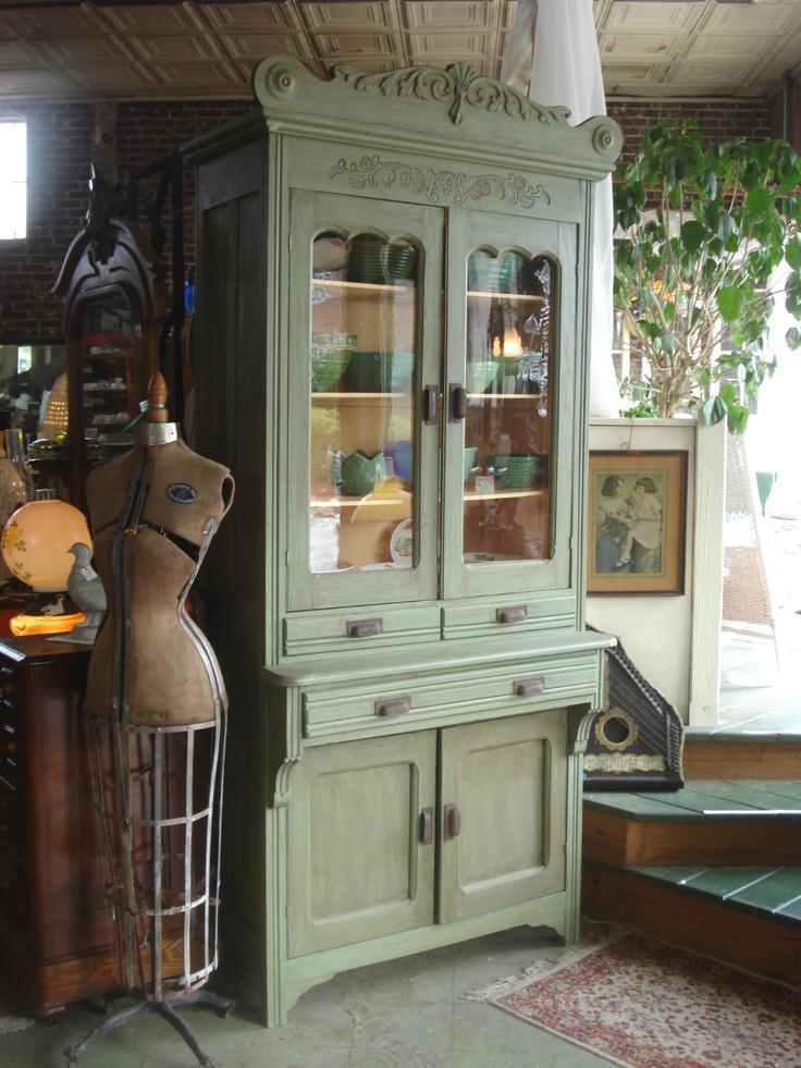 1880u0027s Antique Victorian Oak Painted Kitchen Cupboard Original Wavy Glass