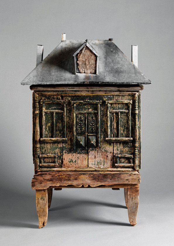 """Whimsical Architectural Beehive (Sold) Weathered Painted Wood and Zinc  France, c.1880  46.00"""" high x 36.00"""" wide x 24.00"""" deep"""