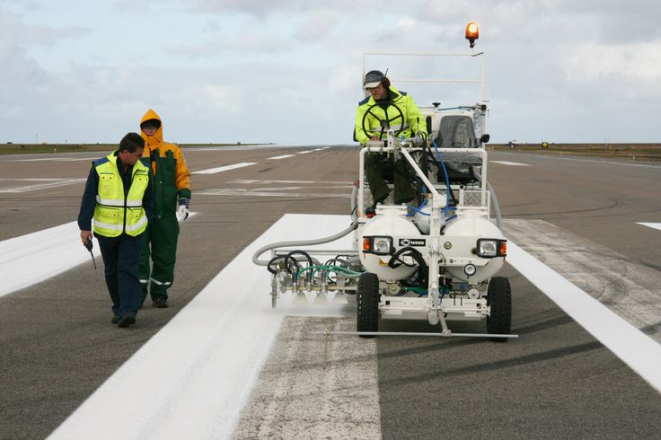 HOFMANN H18 airport marking machine in Iceland equipped with pressurised container system for cold paint, 2 x 225 l pressurised containers and 90 cm wide line marker unit incl. 3 paint- and glass bead guns each http://www.hofmannmarking.de/download/prospekte/Hofmann_Airport_en.pdf