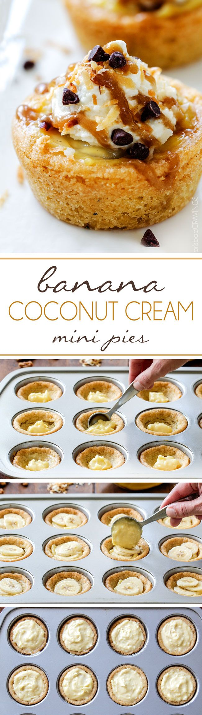 Mini Banana Coconut Cream Pies is the best of both pies in one! Baked in chewy, buttery sugar cookie cups, topped with Coconut Whipped Cream and Drizzled with Coconut Caramel - perfect for holidays! via @carlsbadcraving