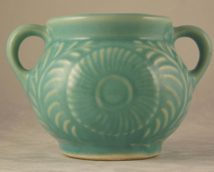 Vintage Shawnee Pottery Turquoise Flower and Fern open sugar bowl 1940s