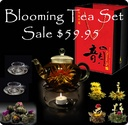 Tea Gifts / Buy the complete blooming tea set with the glass teapot, the tea candle warmer, and the glass cups.