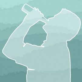 A silhouette of a man with his head tipped back as he drinks from a bottle
