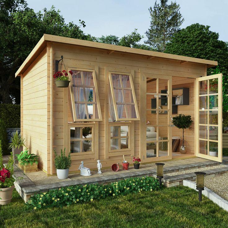 BillyOh 12 x 8 Pent Log Cabin Summerhouse 19mm Offset Doors