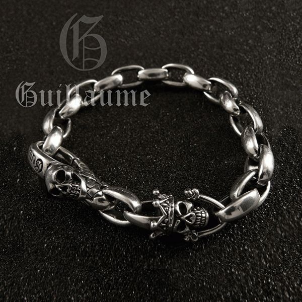 Sterling Silver Mens Skull Bracelet .Original design and a high quality silver by ONYX Design Studio