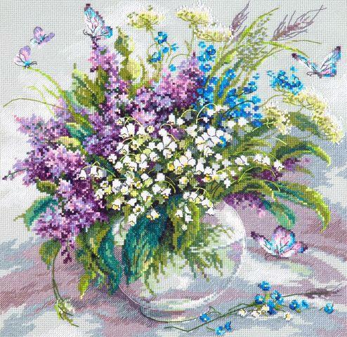 """Скачать Вышивка """"Ласковый май"""" бесплатно. А также другие схемы вышивок в разделах: Бабочки, Сирень, Насекомые, Цветы, Чудесная игла"""
