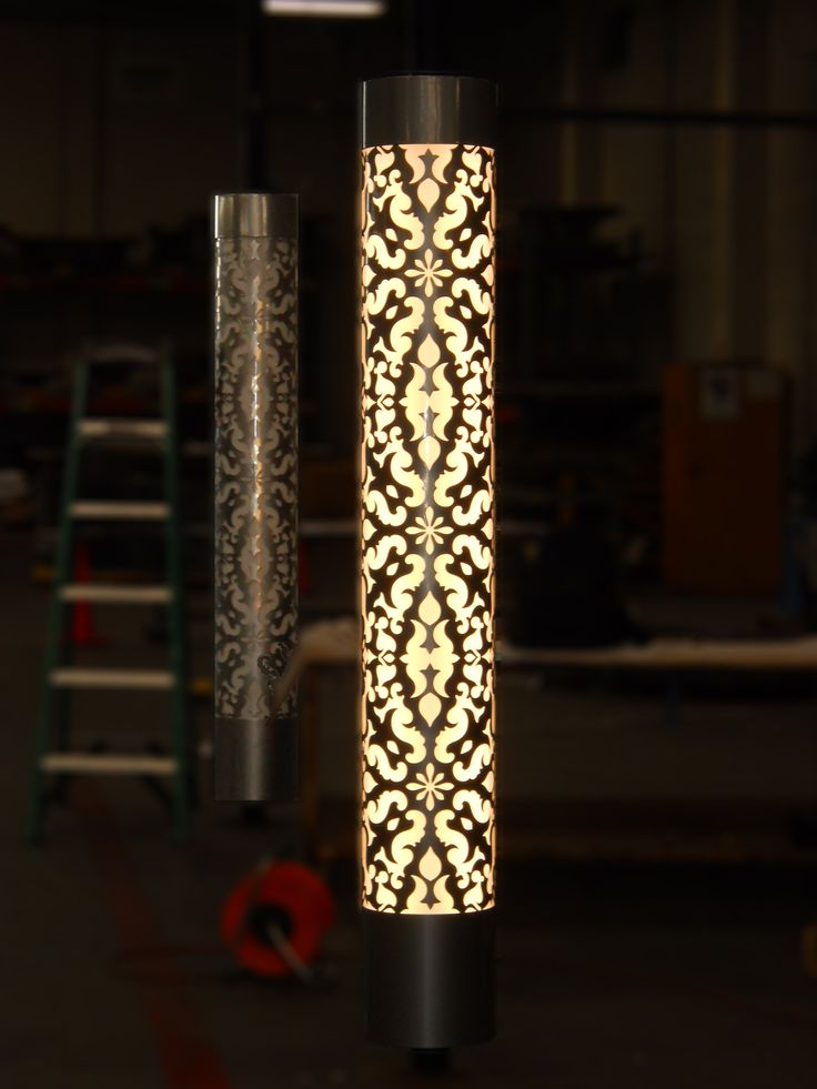 Light Column Wraps Around Existing Architecture Custom